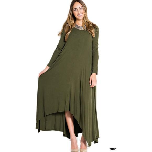 94c02061645 Olive Drape Asymmetrical Plus Size Dress Pockets